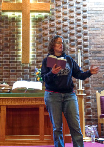 Jamelle Godlewski from Reason 4 Hope, speaking at a local church